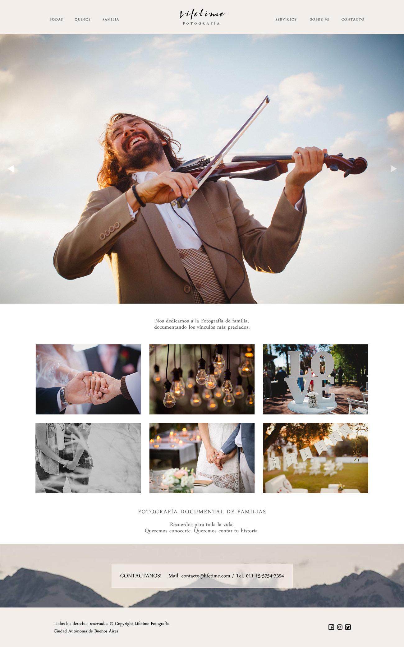 "Diseño web ""Lifetime"" para fotógrafos realizado por La Vuelta Web. Responsive website"