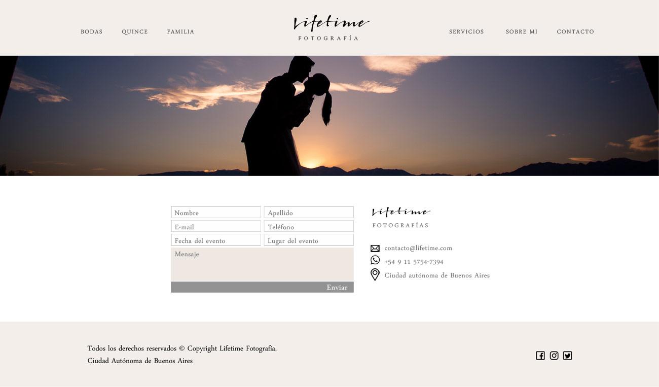 Sección Contacto web de fotografía diseñado y desarrollado por lavueltaweb