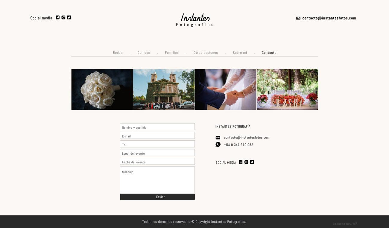 Página contacto web de fotografìa design lavueltaweb