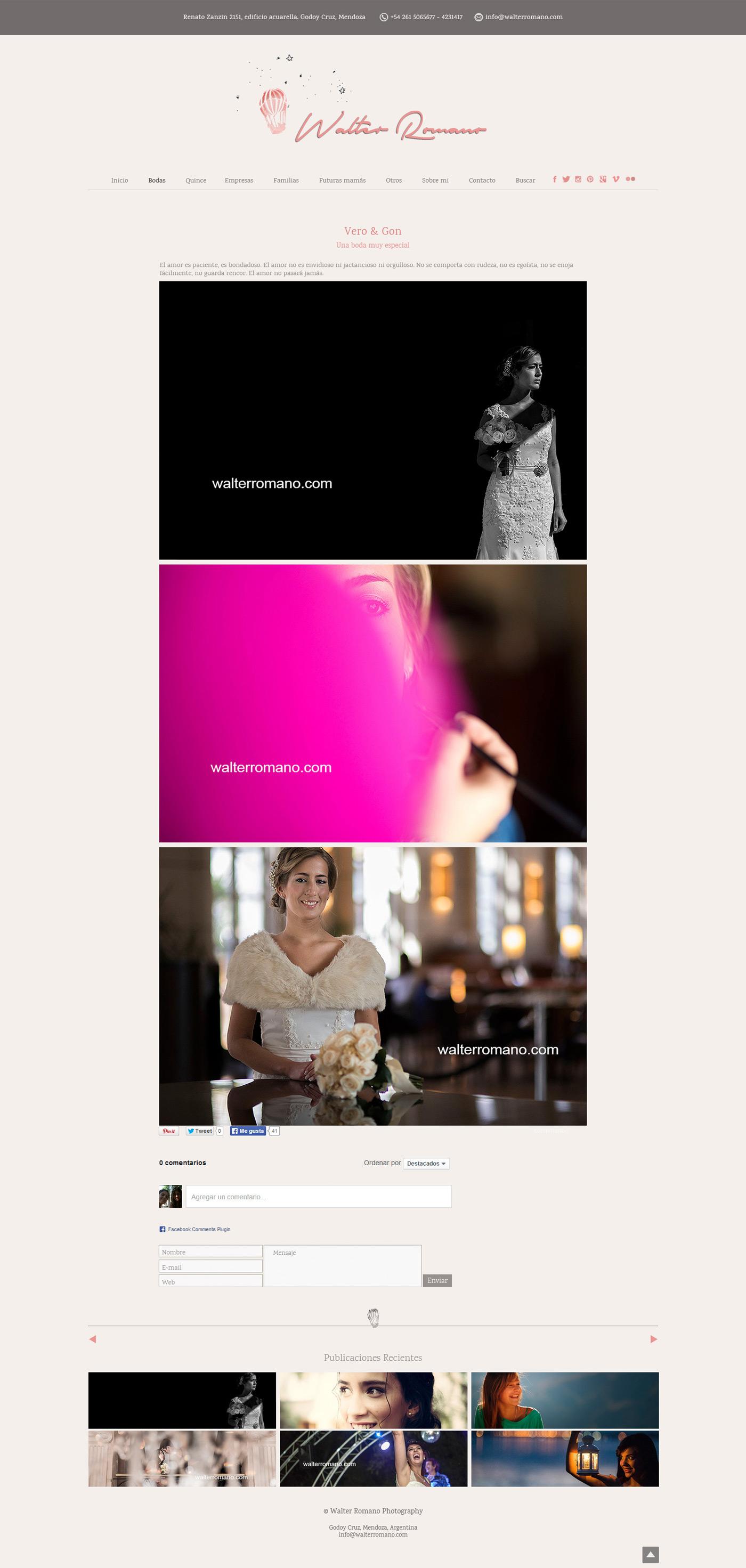 Sitio web desarrollado por La Vuelta Web para Walter Romano Photography de Mendoza