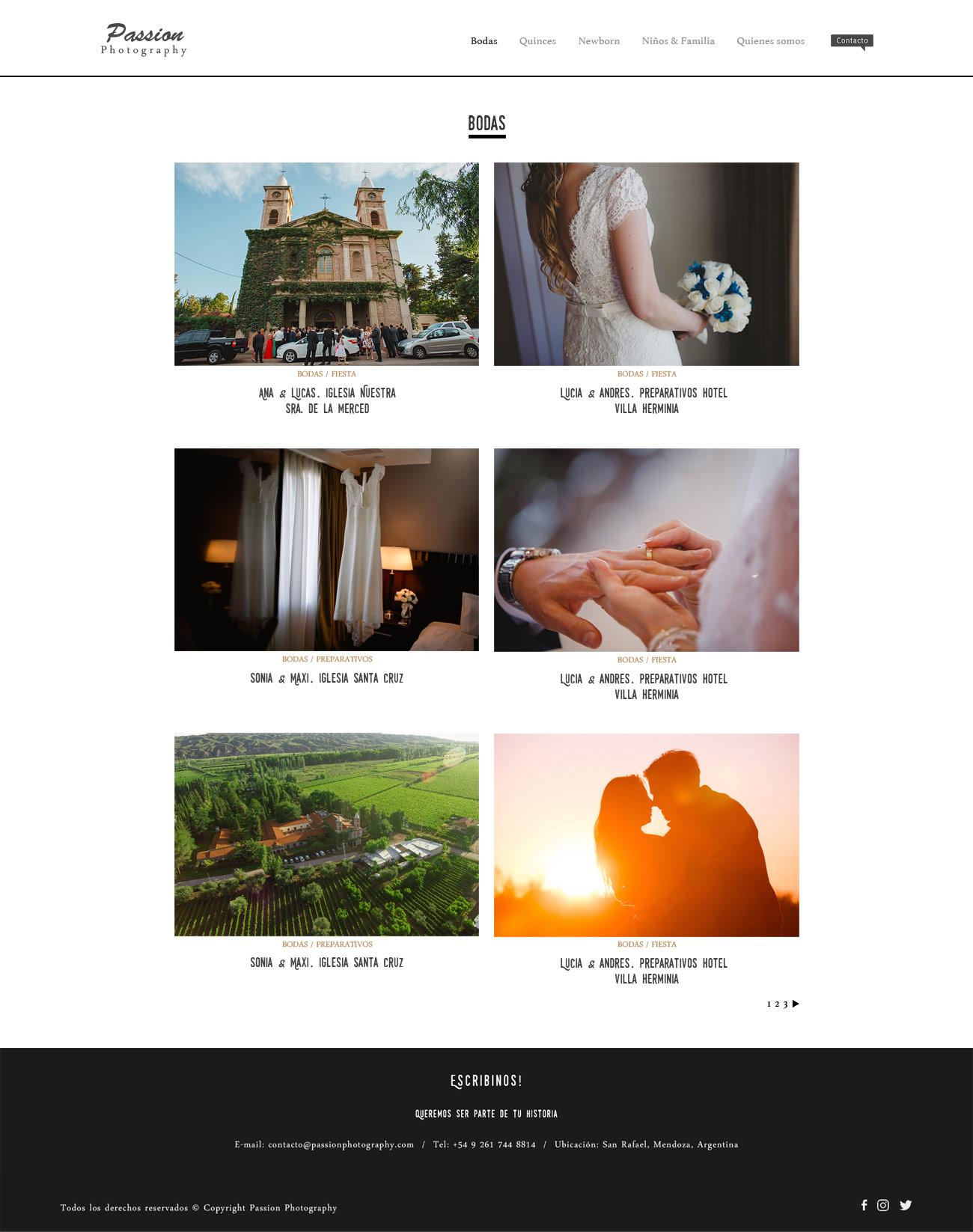 Galería de publicaciones de fotos de boda en web de fotografía diseñado y desarrollado por La Vuelta Web