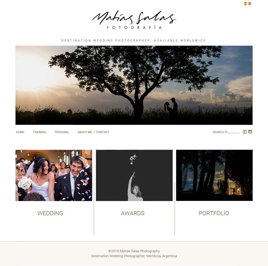 Home del sitio web del fotógrafo Matias Salas de mendoza. Diseño y desarrollo La Vuelta Web