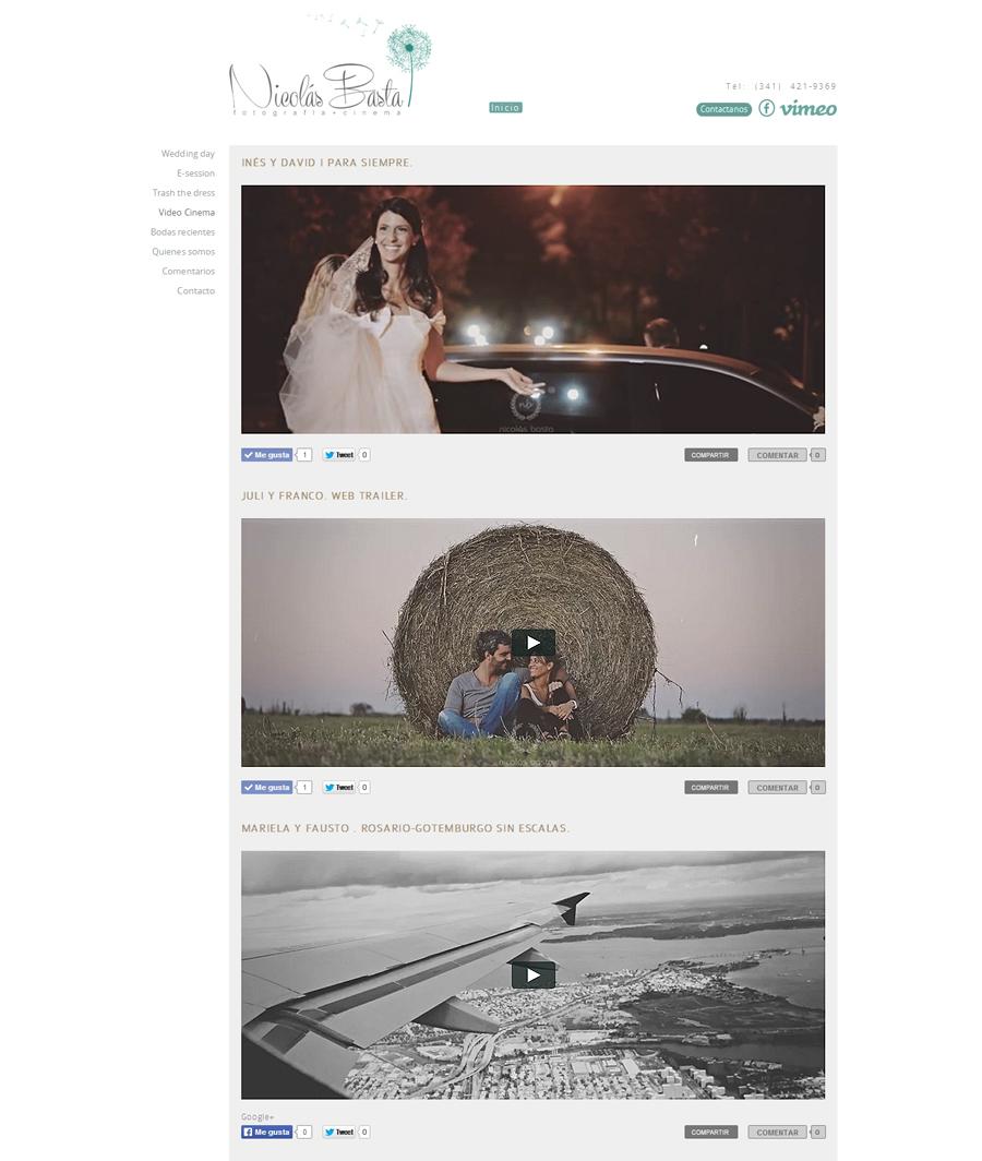 Sección de videos del realizador Nicolás Basta en el sitio web diseñado y desarrollado por La Vuelta Web