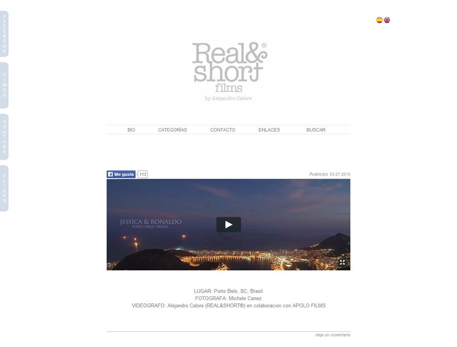 Sitio web desarrollado para Real N Short by Alejandro Calore por La Vuelta Web