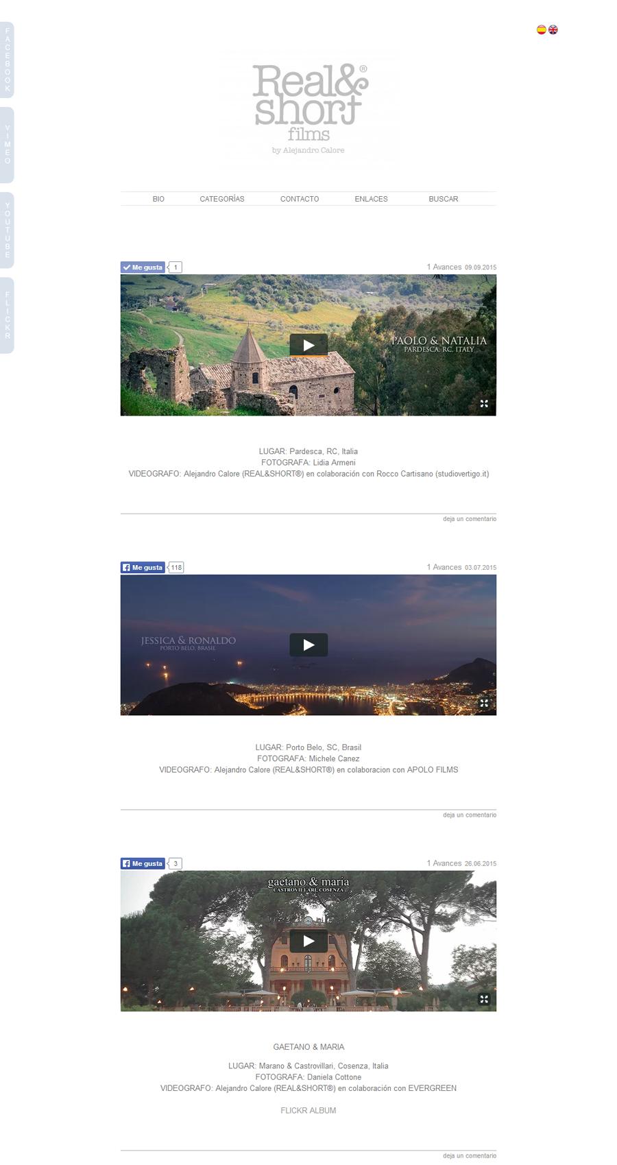 Publicaciones de videos en la web de Real N short by Alejandro Calore. Sitio desarrollado por La Vuelta Web