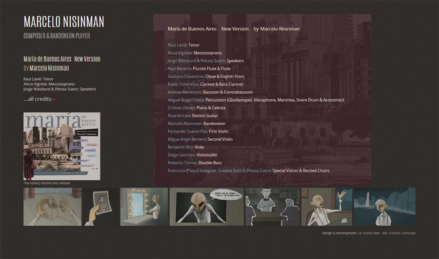 """Sección de créditos en la web de """"New version María de Buenos Aires"""" by Marcelo Nisinamn. Diseño y desarrollo La Vuelta Web"""