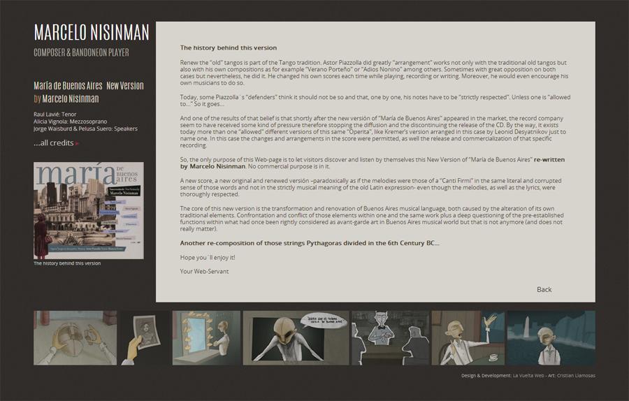 """web de """"New version María de Buenos Aires"""" by Marcelo Nisinamn. Diseño y desarrollo La Vuelta Web"""