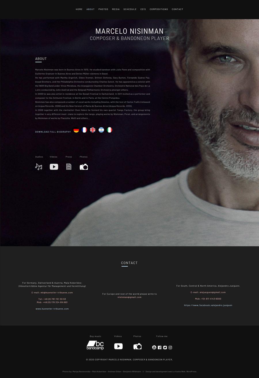 About website Marcelo Nisinman, Composer & bandoneon player, realizado por La Vuelta Web