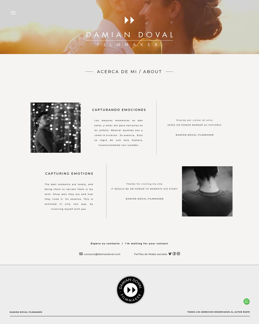 About, Acerca de mi, sección web diseñada por lavueltaweb.com para Damián Doval filmmakers