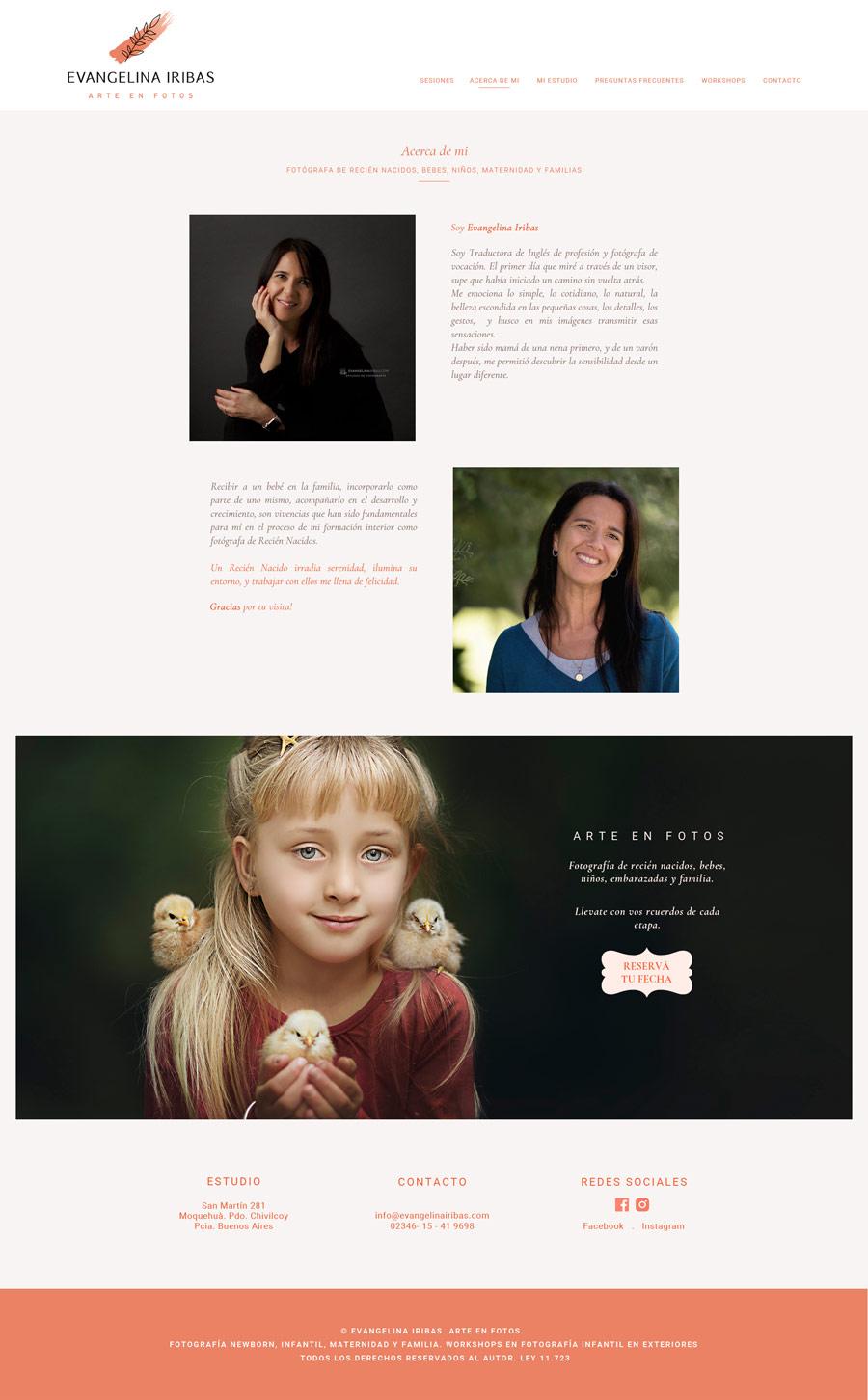 Acerca de mi, sección de la web de Evangelina Iribas, Fotógrafa