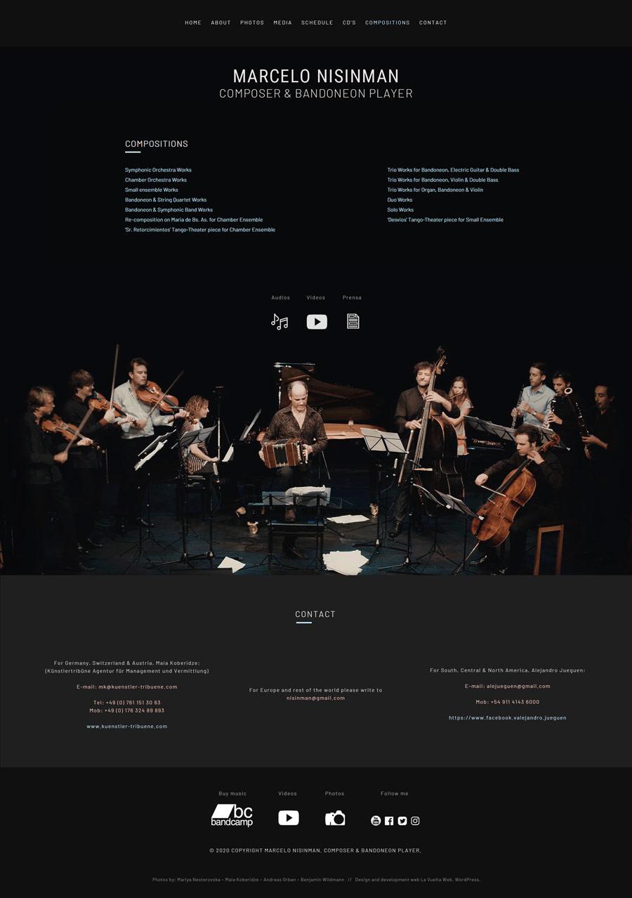 Compositions, sección de la web del compositor y bandoneonista Marcelo Nisinman, by lavueltaweb