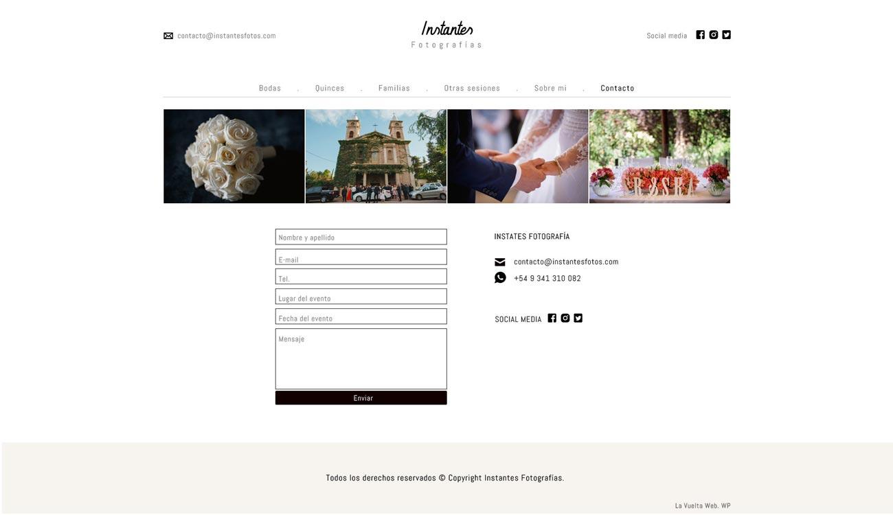 Página de contacto en web de fotografía diseñado y desarrollado por La Vuelta Web. Basado en WordPress