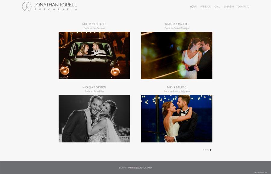 Sección bodas de la web de Jonathan Korell por La Vuelta Web