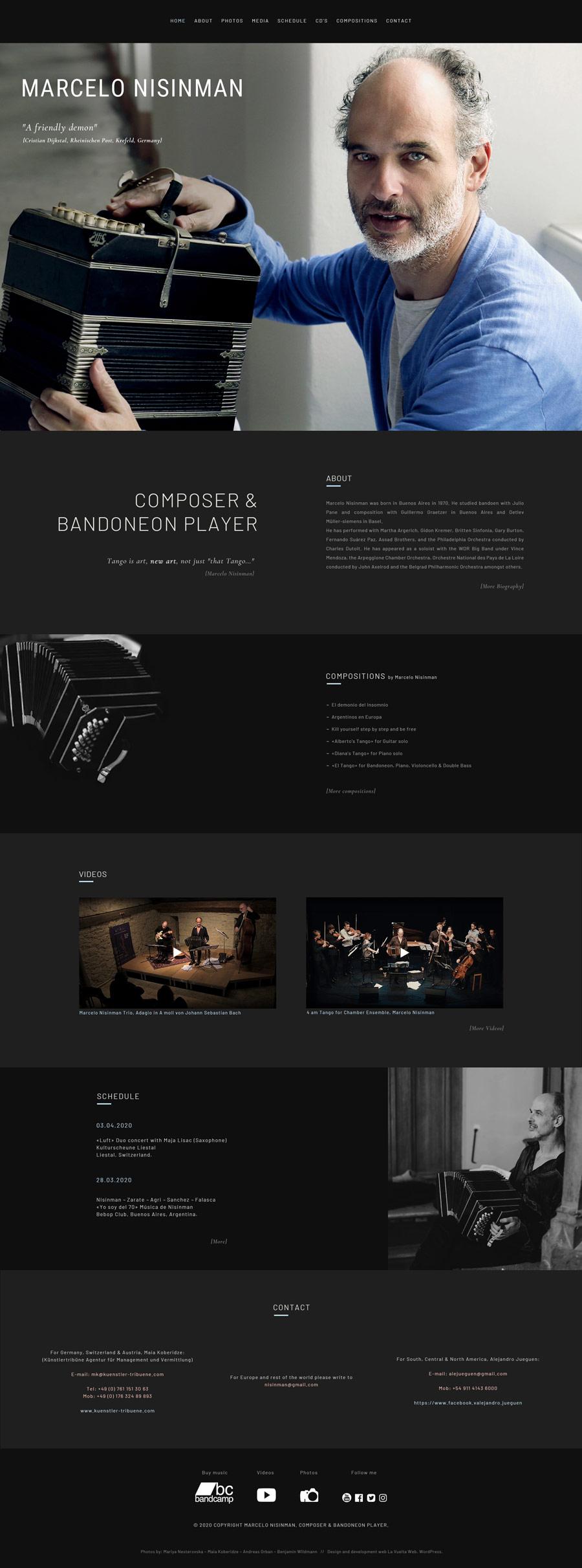 Portada website Marcelo Nisinman, composer & Bandoneón player, realizada por lavueltaweb.com