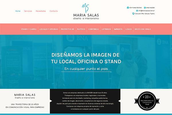 Home web de María Salas, Diseño e Interiorismo desarrollado por La Vuelta Web
