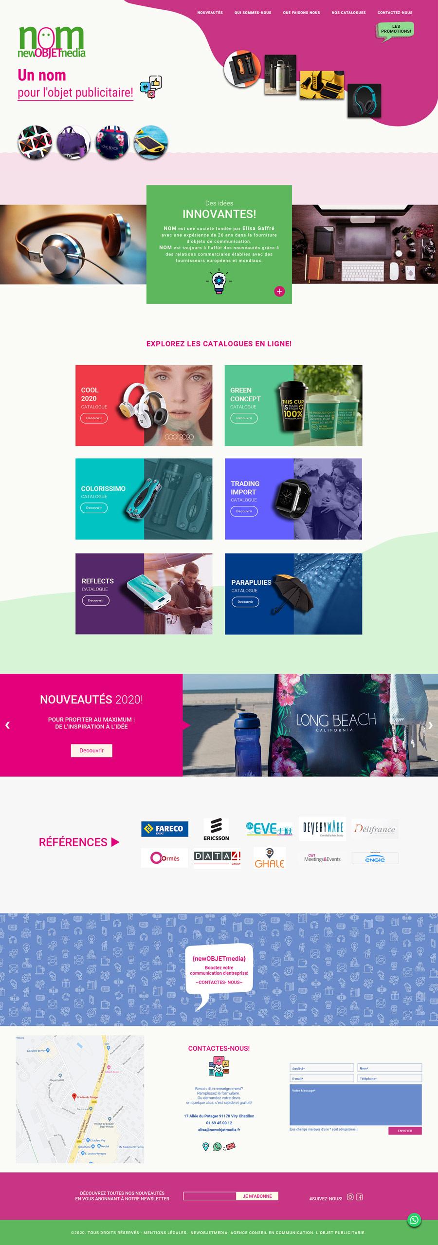 Home web de NOM, New Objet Media. Agencia de objetos publicitarios, realizada por lavueltaweb.com