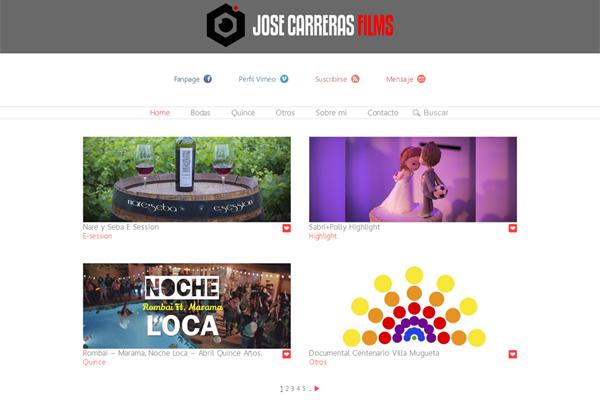 Home página web José Carreras Films desarrollado por La Vuelta Web