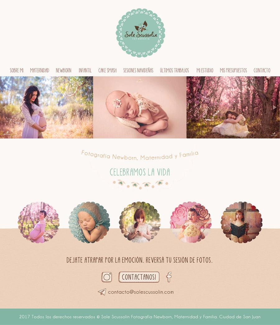 web de fotografia diseñado y desarrollado por lavueltaweb para la fotógrafa Soledad Scussolin de San Juan
