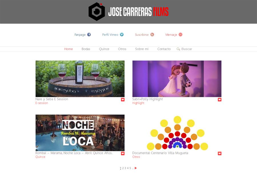 Portada página web José Carreras Films Cinematografía desarrollada por La Vuelta Web