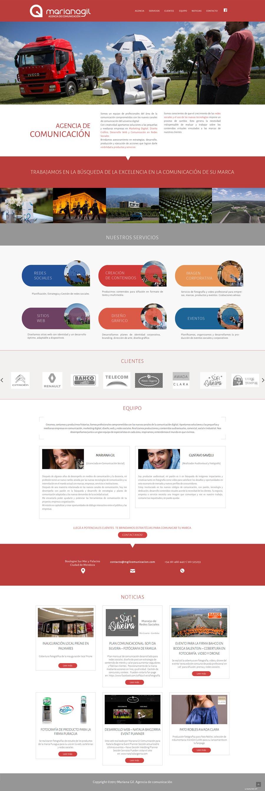 Sitio web ideado para la Licenciada Mariana Gil. Agencia de Comunicación de Mendoza por La Vuelta Web