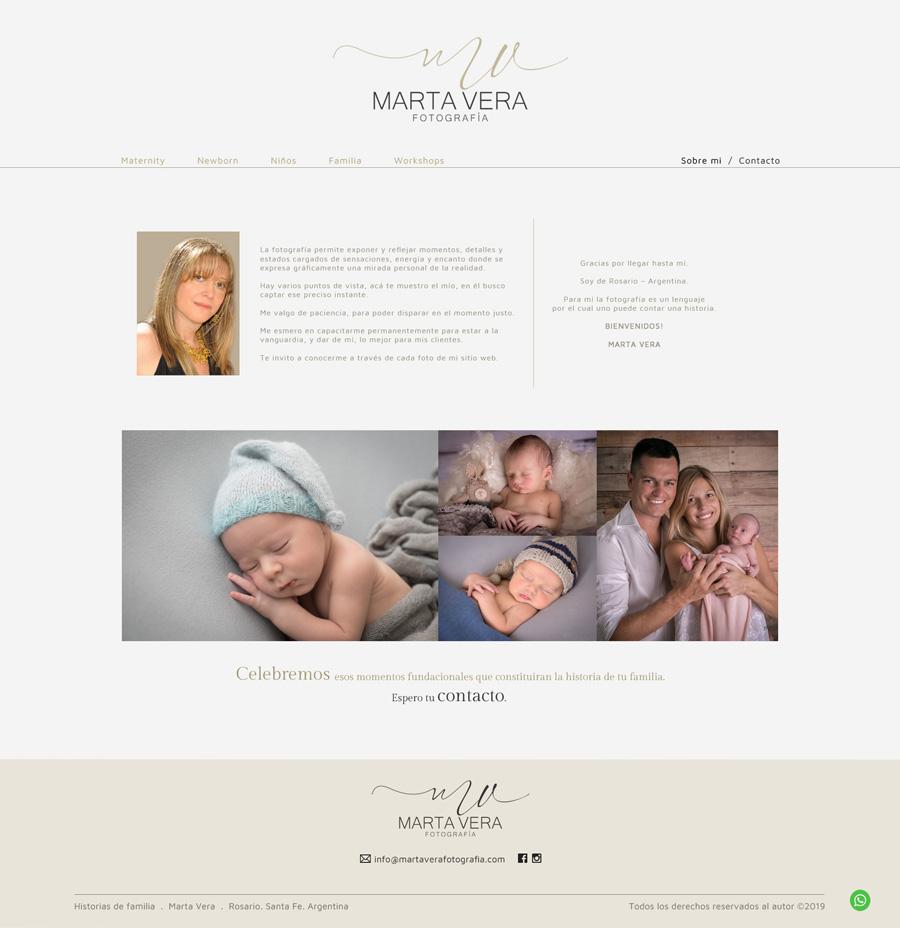 Sección About de la fotógrafa Marta Vera. Web desarrollada por La Vuelta Web