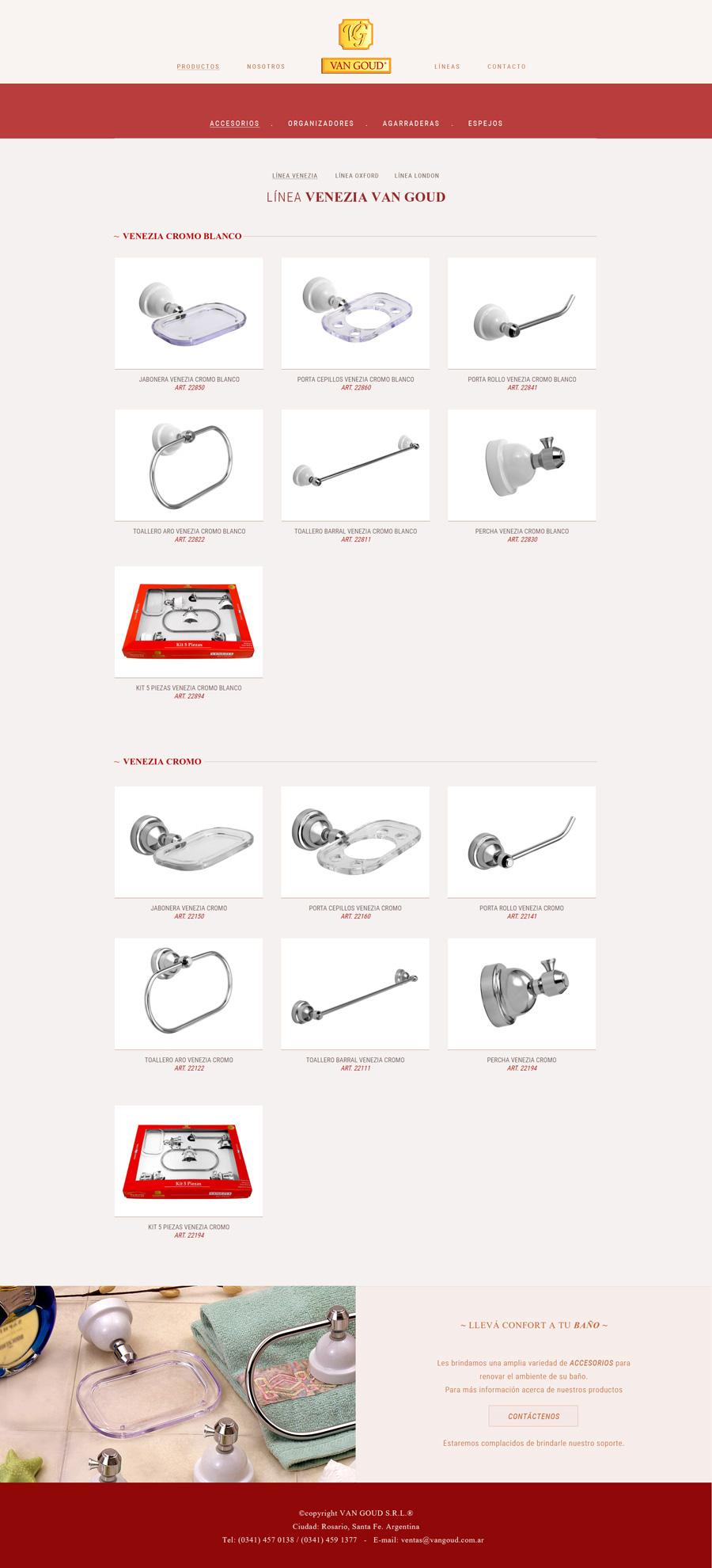 página web muestra los accesorios para el baño de la empresa Van Goud SRL