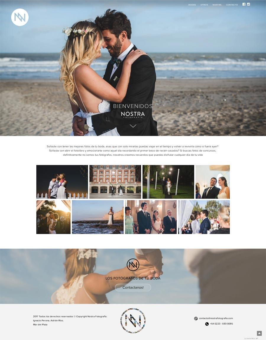 Sitio web de fotografía diseñada y desarrollada por La Vuelta Web para Nostra Fotógrafos Mar del Plata