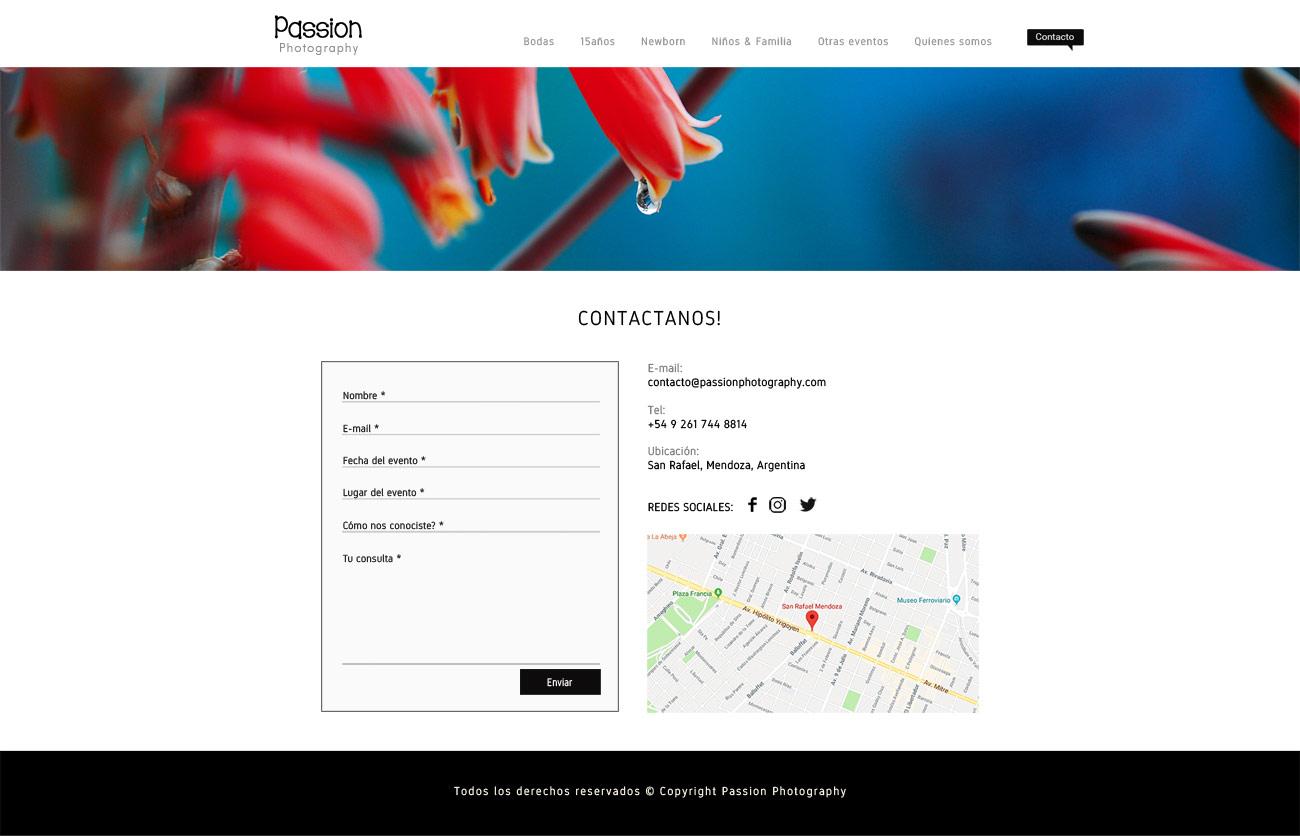 Página web de contacto, webs para fotógrafos LAVUELTAWEB