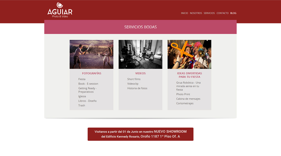 "Sección ""Bodas"" sitio web Aguiar Photo & Video realizado por La Vuelta Web"
