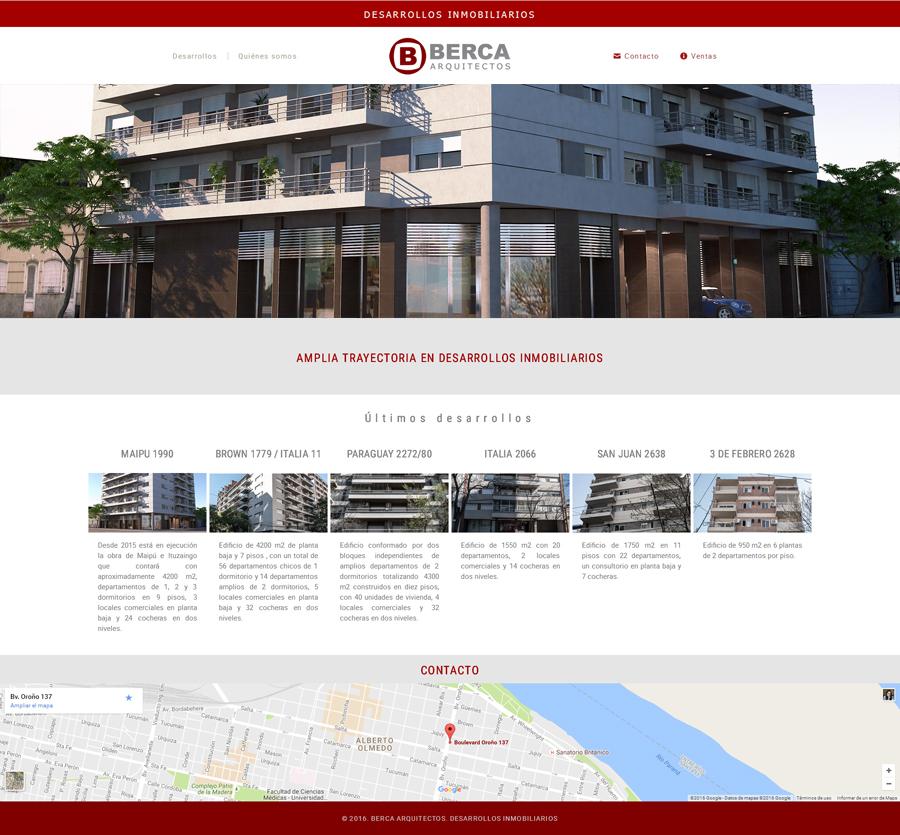 Portada página web de Berca Arquitectos desarrollado por La Vuelta Web