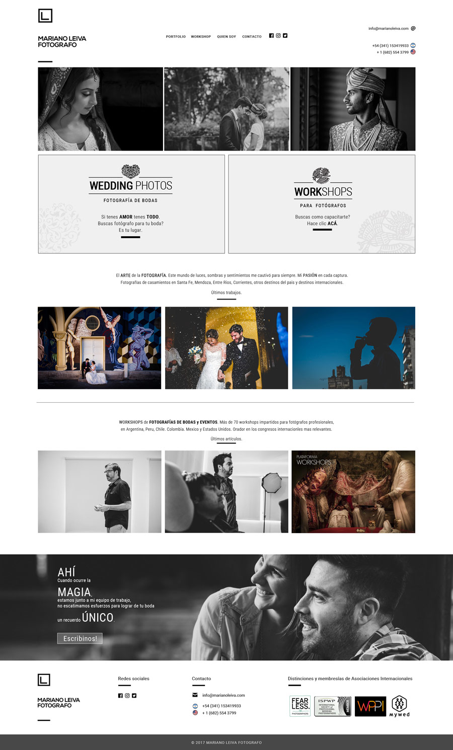 Página web realizada por La Vuelta Web para el fotógrafo Mariano Leiva