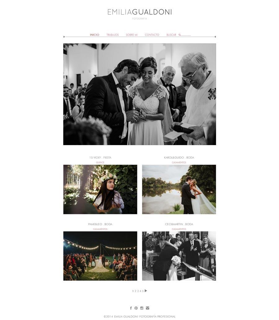 Pagina web de Emilia Gualdoni Fotografía de Córdoba, realizada por La Vuelta Web