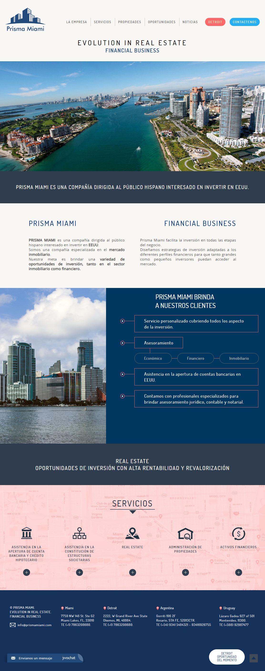 Website diseñada y desarrollada por lavueltaweb para la empresa Prisma Miami. Inversión en EEUU