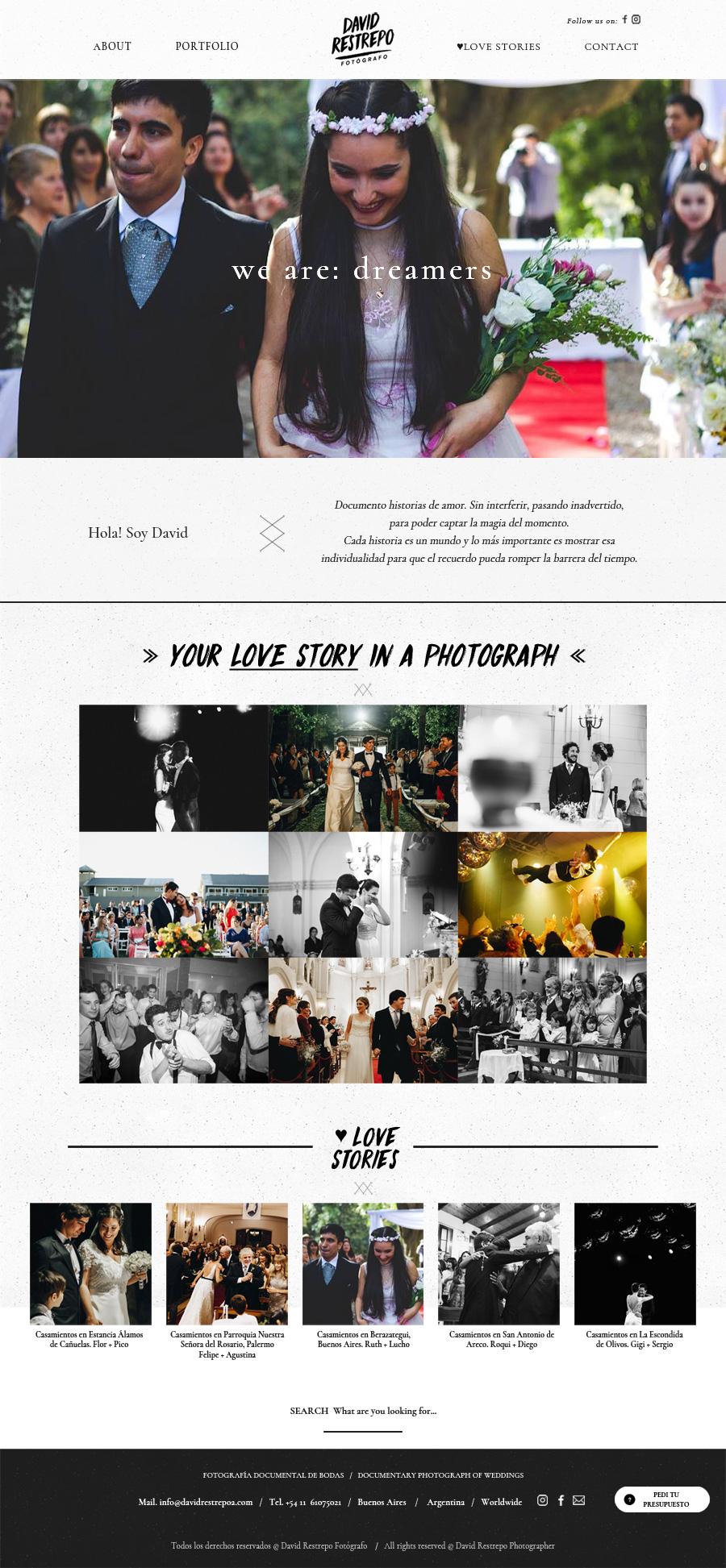 Portada página web del fotógrafo David Restrepo de Buenos Aires, diseño y desarrollo lavueltaweb.com