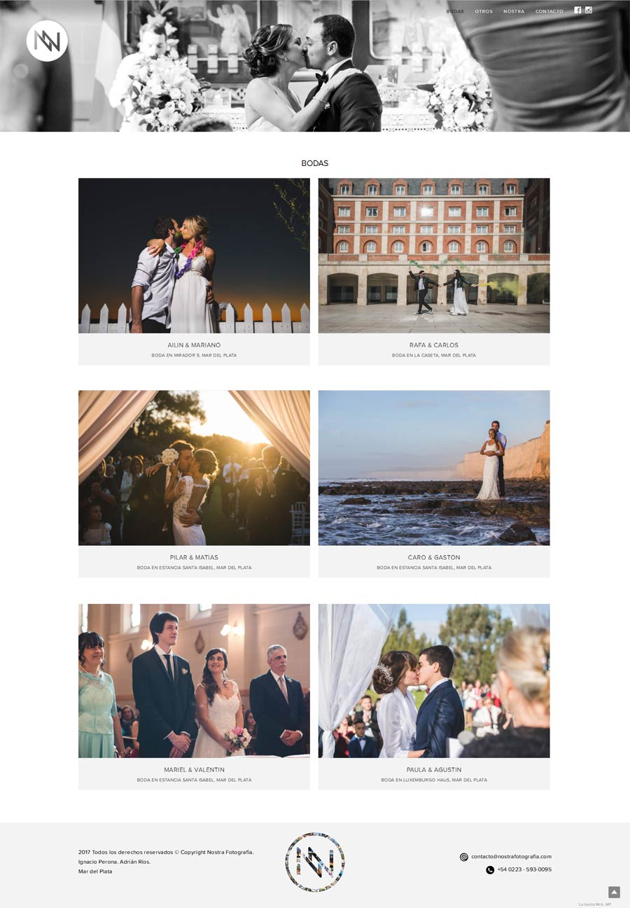 Web sobre fotografias de bodas realizado por La Vuelta Web para Nostra Fotografía