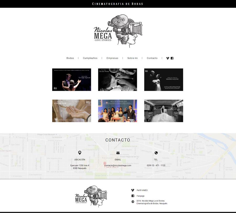 Website de cinematografía de eventos para Nicolás Mega de Neuquén por La Vuelta Web