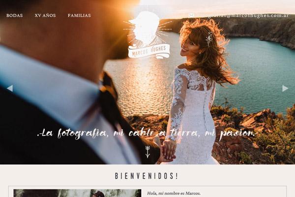 Portada página web diseñada y desarrollada por lavueltaweb.com para el fotógrafo Marcos Hugues