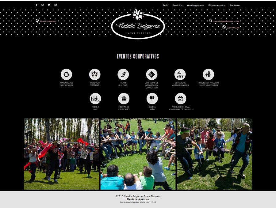 Website responsivo de Natalia Baigorria diseñado y desarrollado por La Vuelta Web