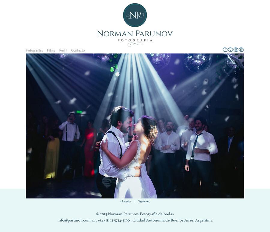 Sitio web desarrollado por La Vuelta Web para el fotógrafo Norman Parunov