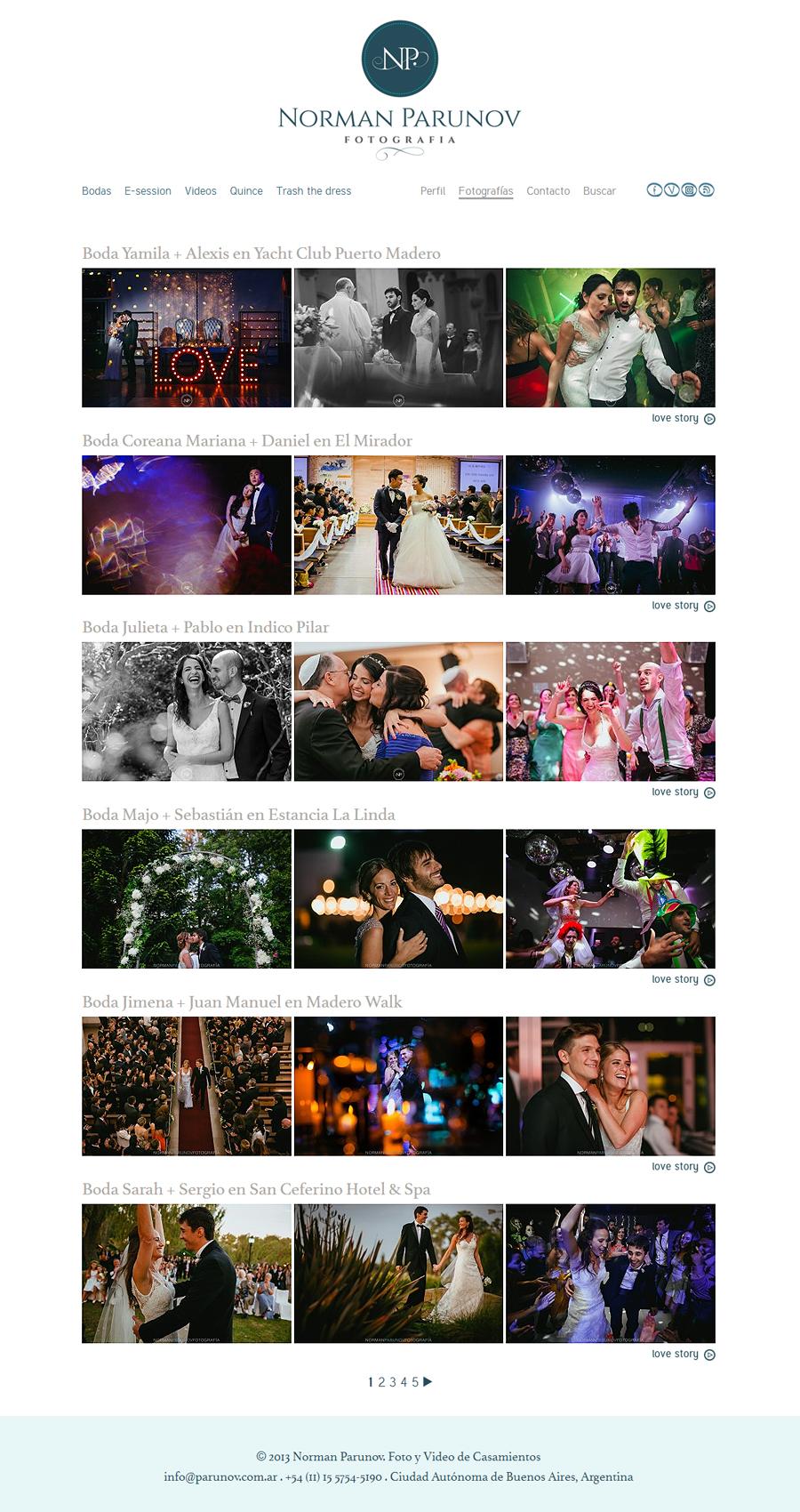 Sección publicaciones de fotos del sitio web de Norman Parunov Fotografia de bodas desarrollado por La Vuelta Web