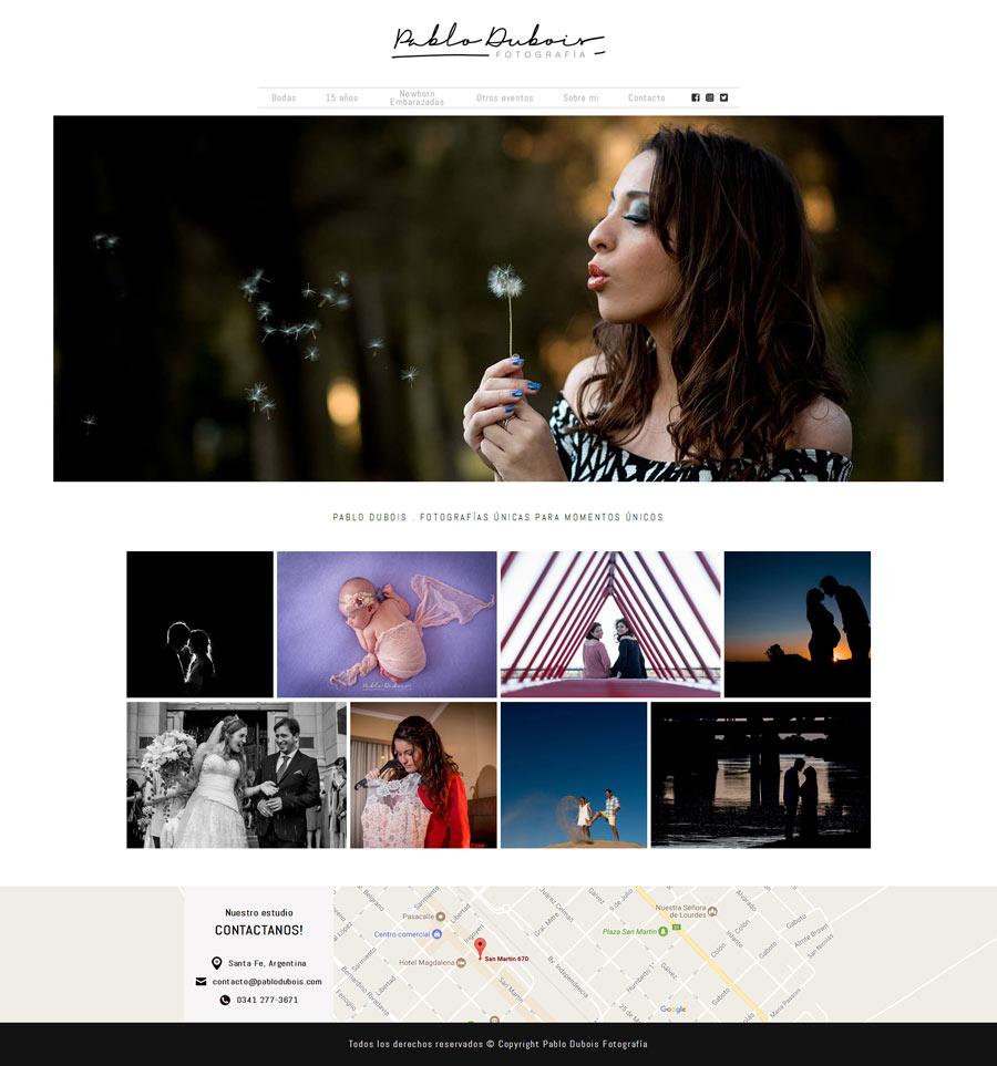 Sitio web diseñado y desarrollado por La Vuelta Web para Pablo Dubois Fotografía