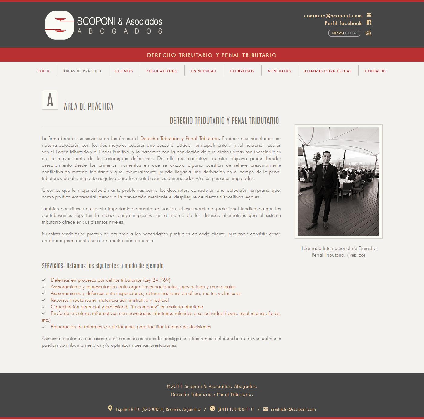 Portada web Scoponi & Asociados . Abogados. Desarrollado por La Vuelta Web. Titular Cristian Scoponi.