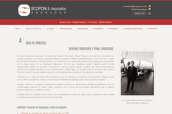 Sección Área de Práctica de la web Scoponi & Asociados. Abogados. Diseño y desarrollo de La Vuelta Web