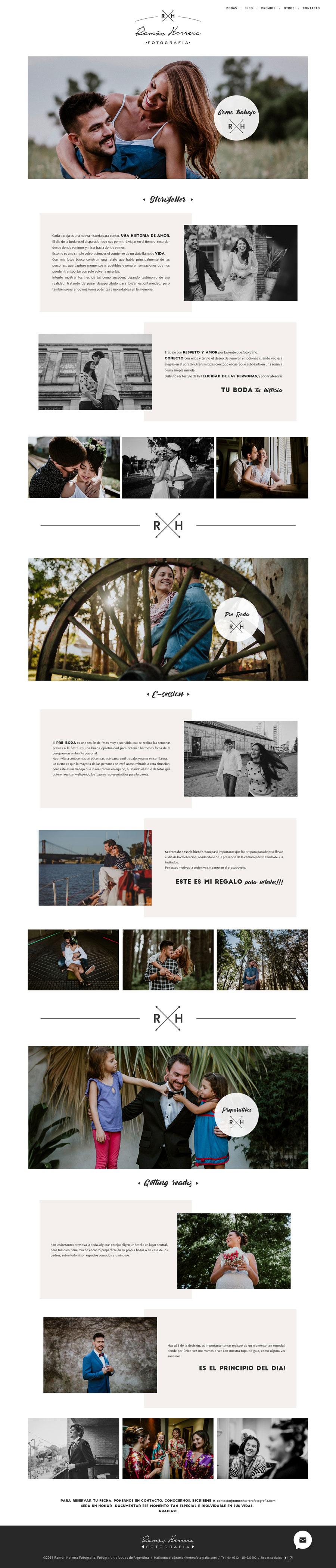 """Página web, sección """"Como Trabajo"""" del fotógrafo Ramón Herrera diseñado y desarrollado por LaVuelta Web"""