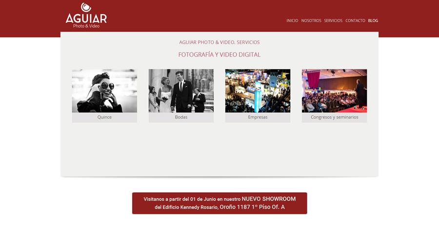 """Sección """"Servicios"""" sitio web Aguiar Photo & Video realizado por La Vuelta Web"""