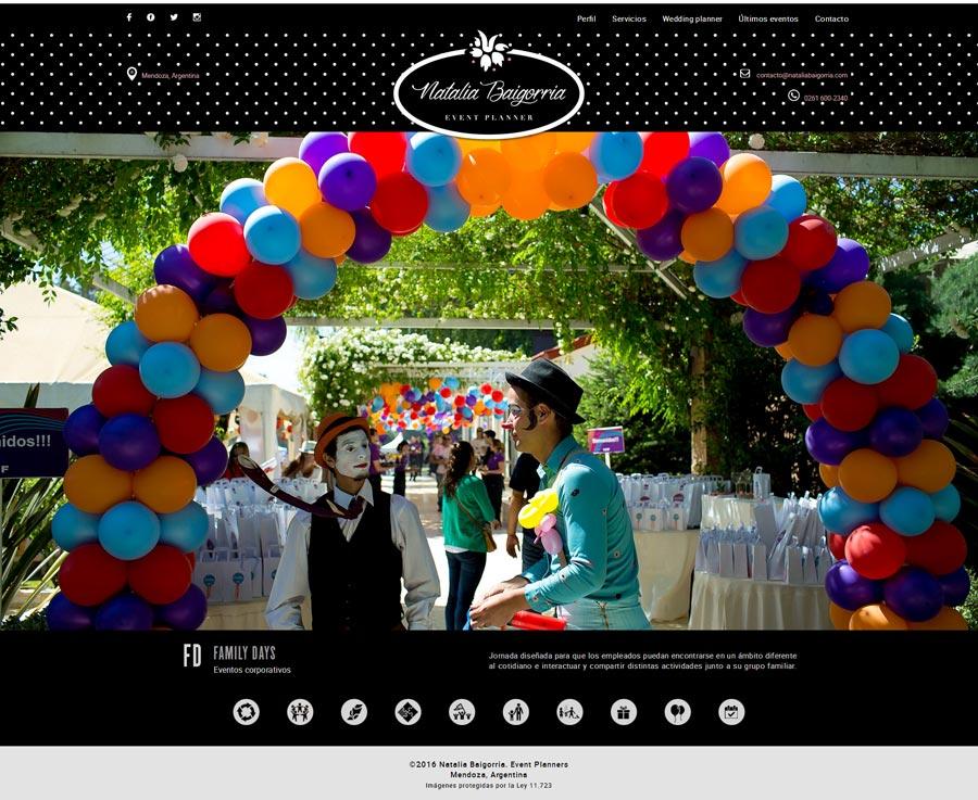 pagina web de Natalia Baigorria Event Planner desarrollado por La Vuelta Web