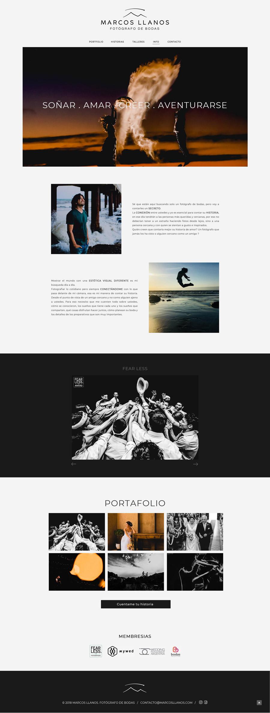 Perfil web del fotógrafo Marcos Llanos que documenta fotos de boda. Diseño y desarrollo La Vuelta Web