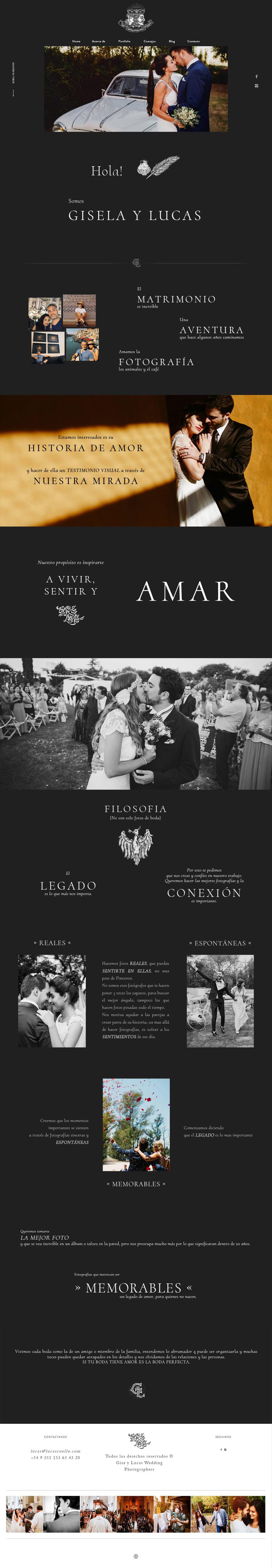Photography website para Gise & Lucas Wedding photographers. Trabajamos bajo la plataforma de Flothemes. La Vuelta Web