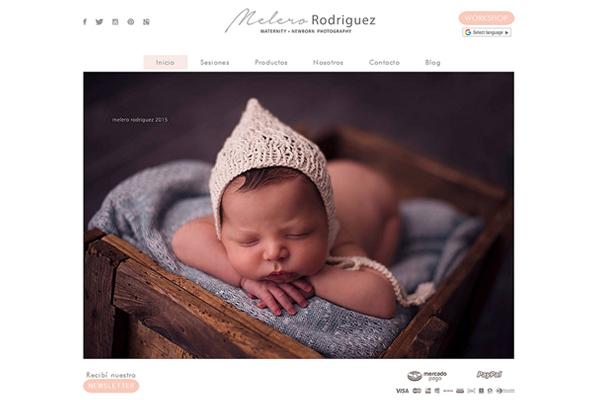 Portada de la pagina web de Melero Rodríguez Maternity + Newborn photography realizado por La Vuelta Web,