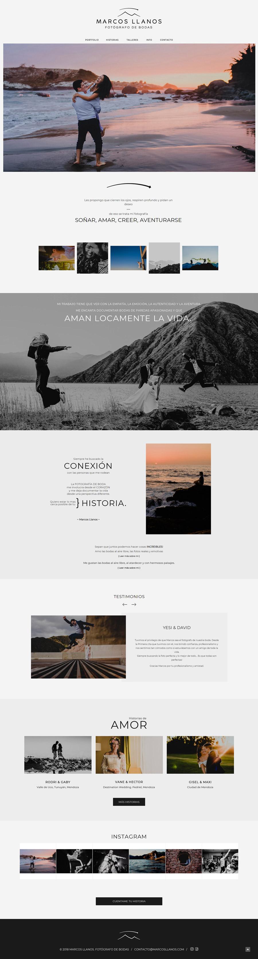 web del fotógrafo de bodas Marcos Llanos. Diseño y desarrollo La Vuelta Web